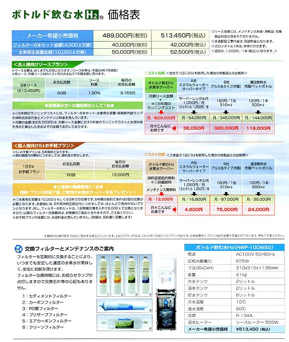 ボトルド飲む水H2 価格表
